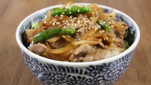 揚げ玉&肉ニラ炒め丼